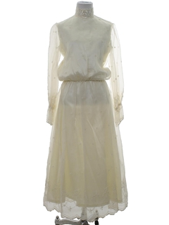 1970's Womens Wedding Style Prom Or Cocktail Maxi Dress
