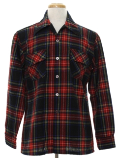 1970's Mens Wool Flannel Sport Shirt