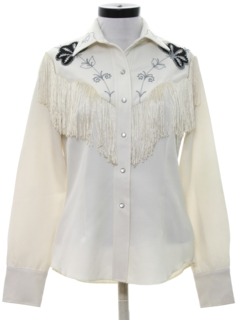 1970's Womens Gabardine Embroidered Western Shirt*