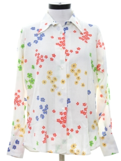 1970's Womens Pow-Flower Print Hippie Shirt