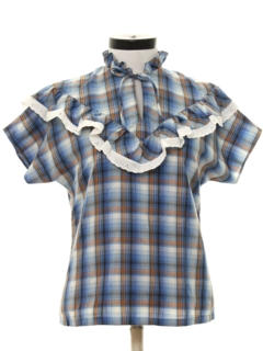 1970's Womens Ruffled Western Style Shirt