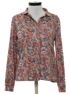 1980's Womens Print Disco Shirt