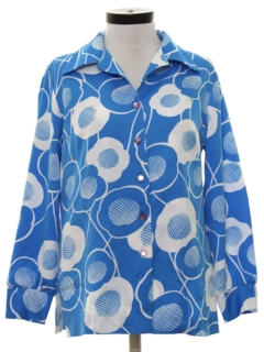 1970's Womens Mod Pow-Flower Print Shirt