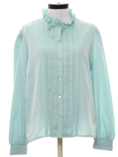 1970's Womens Ruffled Pleated Secretary Shirt