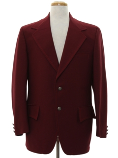 1970's Mens Ron Burgundy Style Disco Blazer Sport Coat Jacket