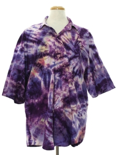 1980's Mens Tie Dye Print Hippie Shirt