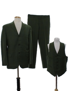 1960's Mens Mod Wool Three Piece Suit