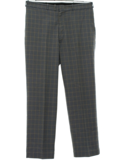 1970's Mens Plaid Flat Front Slacks Pants