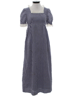 1960's Womens Hippie Prairie Maxi Dress
