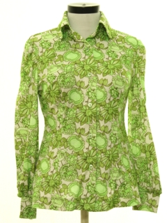 1970's Womens Pow-Flower Print Disco Shirt