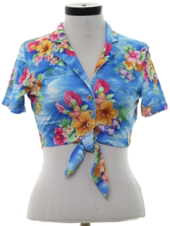 1980's Womens Cropped Hawaiian Shirt