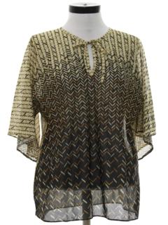 1970's Womens Print Disco Style Shirt