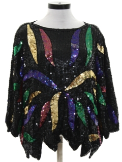1980's Womens Sequined Cocktail Shirt