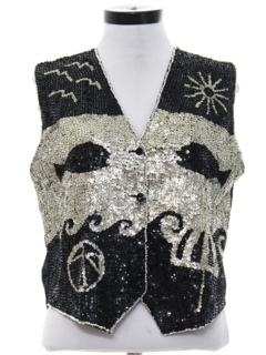 1980's Womens Totally 80s Sequined Cocktail Vest
