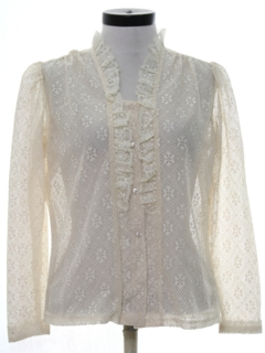 1970's Womens Lace Ruffled Prairie Shirt