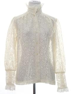 1970's Womens Lace Ruffle Prairie Shirt