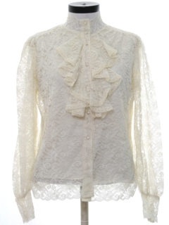 1970's Womens Lace Ruffled Shirt