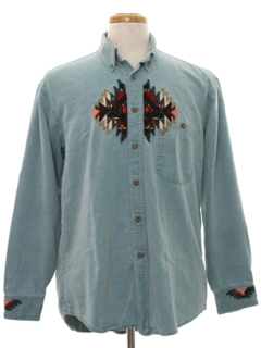 1980's Mens Denim Western Style Shirt