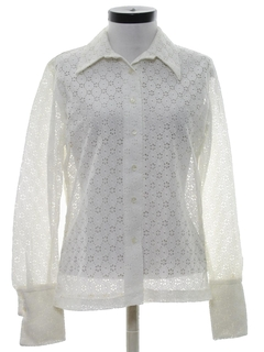 1970's Womens Sheer Lace Shirt