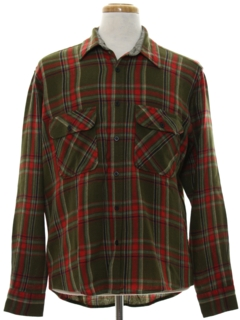 1980's Mens Plaid Flannel Shirt