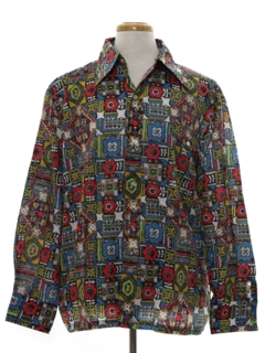 1970's Mens Print Disco Ski Shirt