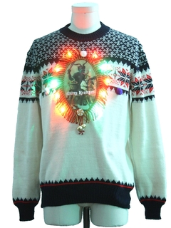 1970's Mens Hand Embellished Multicolor Lightup Krampus Ugly Christmas Vintage Sweater