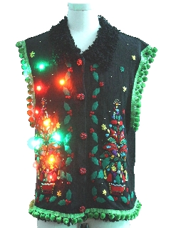 1990's Unisex Hand Embellished Multicolor Lightup Ugly Christmas Vintage Sweater Vest