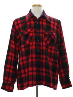 1970's Mens Plaid Flannel Sport Shirt