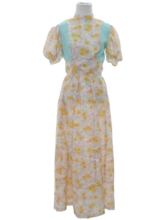 1960's Womens Hippie Prairie Dress