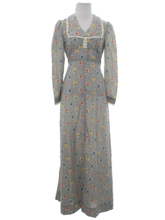 1970's Womens Hippie Prairie Maxi Dress