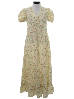 1960's Womens Hippie Prairie Maxi A-Line Dress
