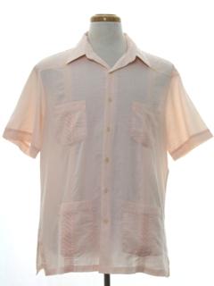 1980's Mens Designer Guayabera Style Sport Shirt