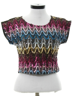 1980's Womens Totally 80s Sequined Shirt