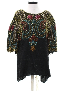1980's Womens Totally 80s Sequin And Beaded Cocktail Shirt