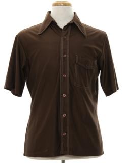 1970's Mens Solid Disco Shirt