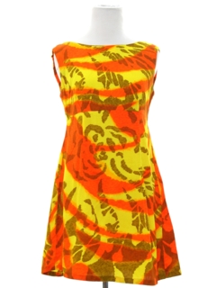 1960's Womens Mod Mini Hawaiian Dress
