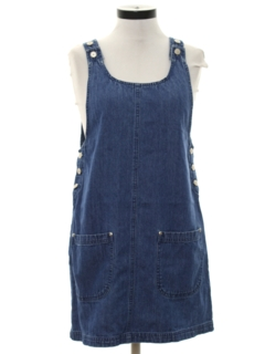 1990's Womens Wicked 90s Denim A-Line Mini Dress