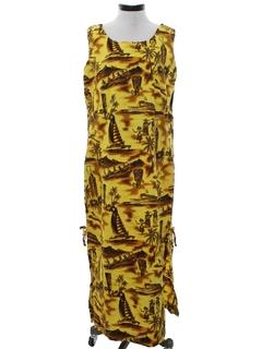 1970's Womens Hawaiian Maxi Dress