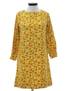 1960's Womens Mod A-Line Hippie Dress
