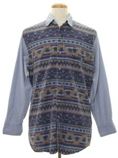 1980's Mens Chambray Hippie Western Shirt