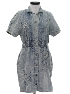 1980's Womens Totally 80s Acid Washed Mini Dress