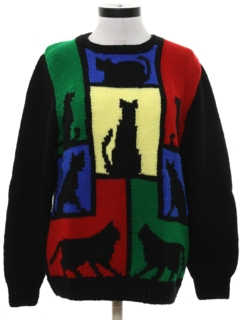 1980's Womens Totally 80s Crazy Cat Lady Ugly Sweater