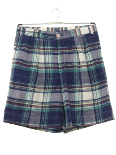 1980's Mens Totally 80s Preppy Plaid Shorts