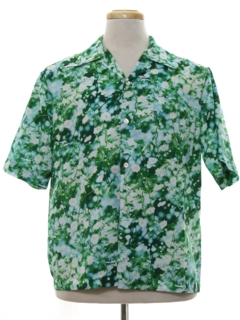 1970's Mens Photo Print Hawaiian Style Disco Shirt