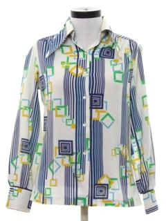 1960's Womens Mod Print Disco Style Shirt