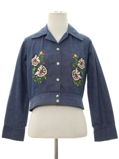 1970's Womens Embroidered Denim Hippie Jacket