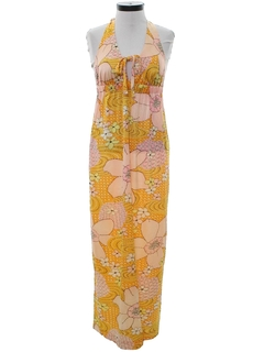 1970's Womens Maxi Halter Dress