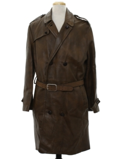 1960's Mens Mod Doublebreasted Leather Overcoat Jacket
