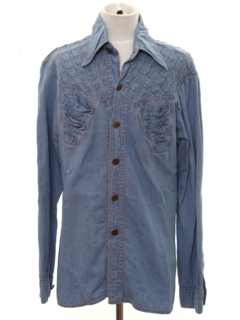 1970's Mens Chambray Hippie Style Shirt Jacket