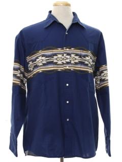 1980's Mens Southwestern Print Western Shirt